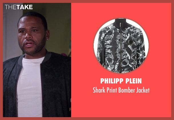 Philipp Plein black jacket from Black-ish seen with Andre 'Dre' Johnson (Anthony Anderson)