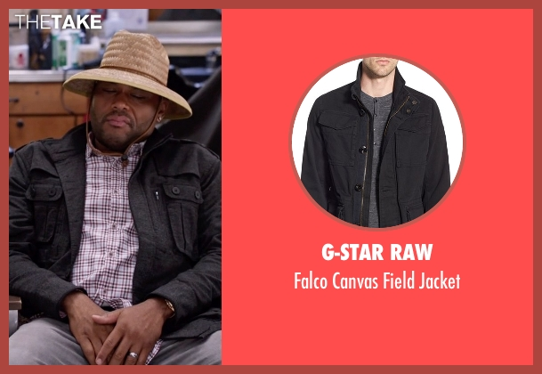 G-Star Raw black jacket from Black-ish seen with Andre 'Dre' Johnson (Anthony Anderson)