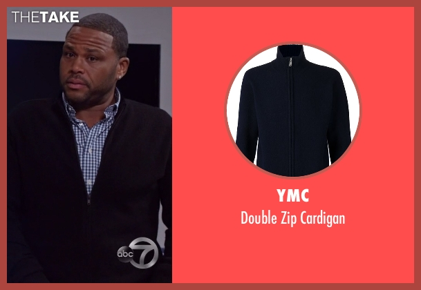 YMC blue cardigan from Black-ish seen with Andre 'Dre' Johnson (Anthony Anderson)