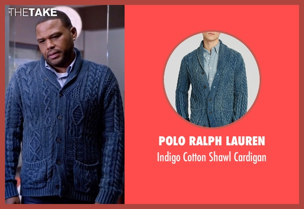 Polo Ralph Lauren blue cardigan from Black-ish seen with Andre 'Dre' Johnson (Anthony Anderson)