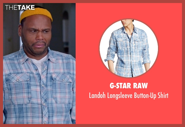 G-Star Raw blue shirt from Black-ish seen with Andre 'Dre' Johnson (Anthony Anderson)