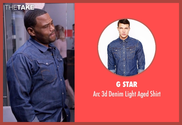 G Star blue shirt from Black-ish seen with Andre 'Dre' Johnson (Anthony Anderson)
