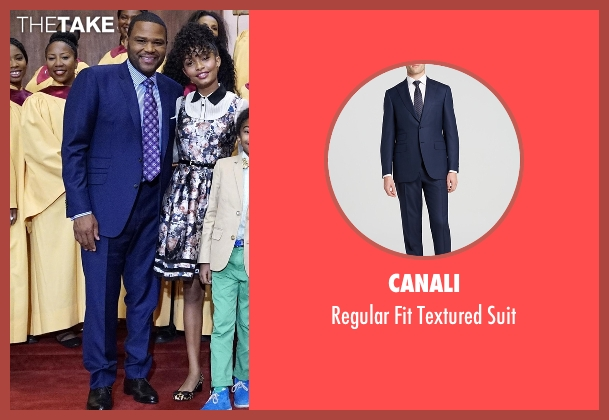 Canali blue suit from Black-ish seen with Andre 'Dre' Johnson (Anthony Anderson)