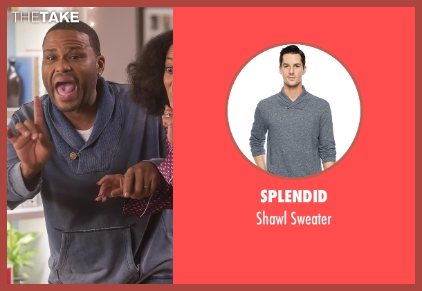 Splendid blue sweater from Black-ish seen with Andre 'Dre' Johnson (Anthony Anderson)