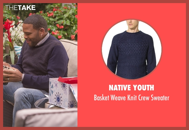 Native Youth blue sweater from Black-ish seen with Andre 'Dre' Johnson (Anthony Anderson)