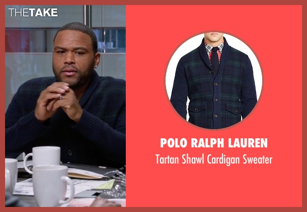 Polo Ralph Lauren blue sweater from Black-ish seen with Andre 'Dre' Johnson (Anthony Anderson)