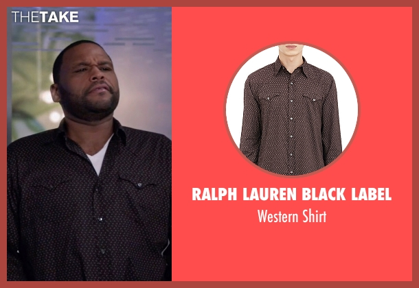 Ralph Lauren Black Label brown shirt from Black-ish seen with Andre 'Dre' Johnson (Anthony Anderson)