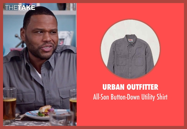 Urban Outfitter gray shirt from Black-ish seen with Andre 'Dre' Johnson (Anthony Anderson)