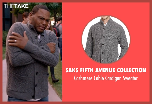 Saks Fifth Avenue Collection gray sweater from Black-ish seen with Andre 'Dre' Johnson (Anthony Anderson)