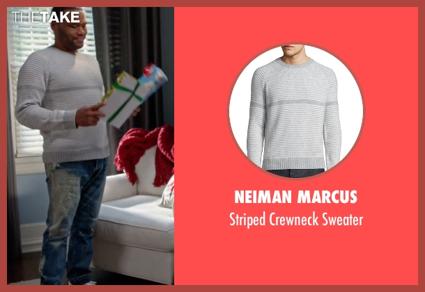 Neiman Marcus gray sweater from Black-ish seen with Andre 'Dre' Johnson (Anthony Anderson)