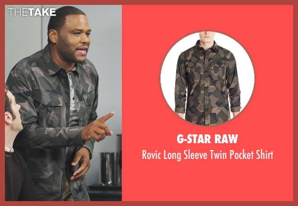 G-Star Raw green shirt from Black-ish seen with Andre 'Dre' Johnson (Anthony Anderson)