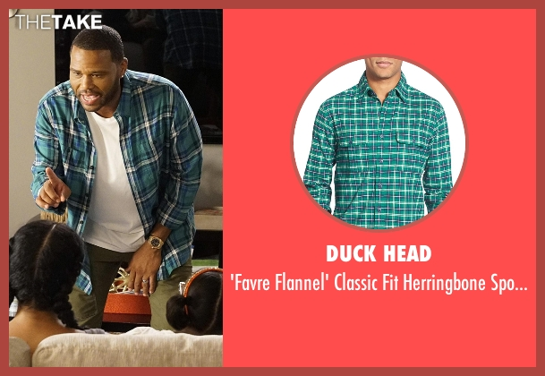 Duck Head green shirt from Black-ish seen with Andre 'Dre' Johnson (Anthony Anderson)