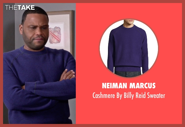 Neiman Marcus purple sweater from Black-ish seen with Andre 'Dre' Johnson (Anthony Anderson)