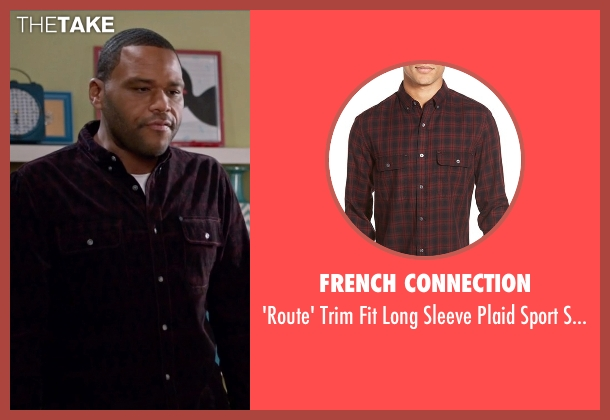 French Connection red shirt from Black-ish seen with Andre 'Dre' Johnson (Anthony Anderson)