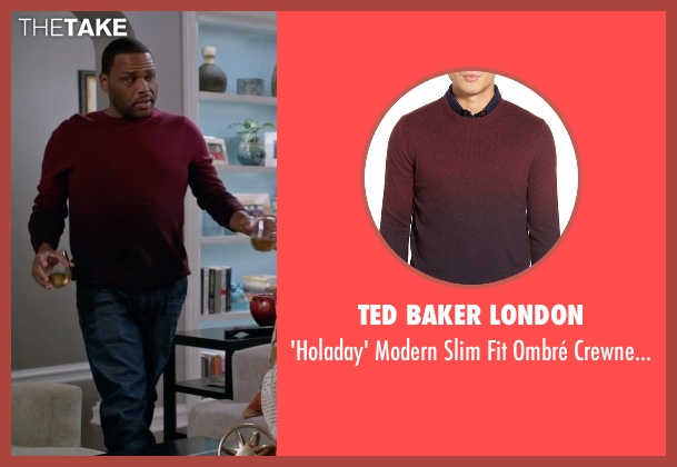 Ted Baker London red sweater from Black-ish seen with Andre 'Dre' Johnson (Anthony Anderson)