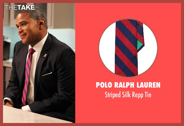Polo Ralph Lauren red tie from Black-ish seen with Andre 'Dre' Johnson (Anthony Anderson)