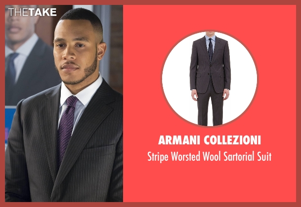 Armani Collezioni black suit from Empire seen with Andre Lyon (Trai Byers)