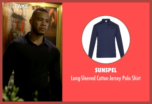 Sunspel blue shirt from Empire seen with Andre Lyon (Trai Byers)