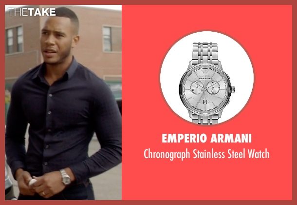 Emperio Armani silver watch from Empire seen with Andre Lyon (Trai Byers)