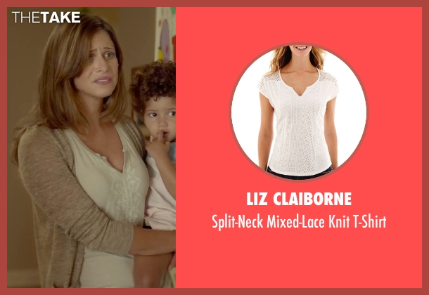Liz Claiborne white t-shirt from Sleeping with Other People seen with Andrea Savage (Naomi)
