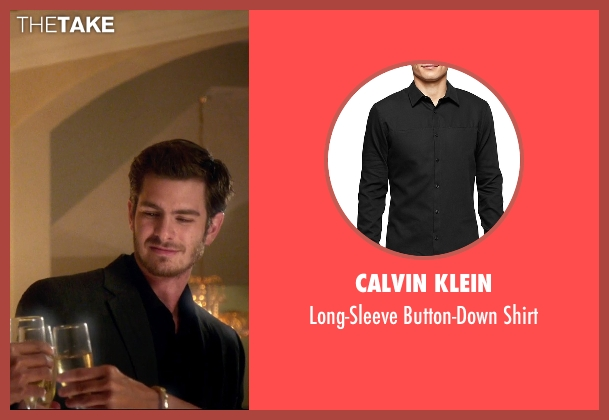 Calvin Klein black shirt from 99 Homes seen with Andrew Garfield (Dennis Nash)