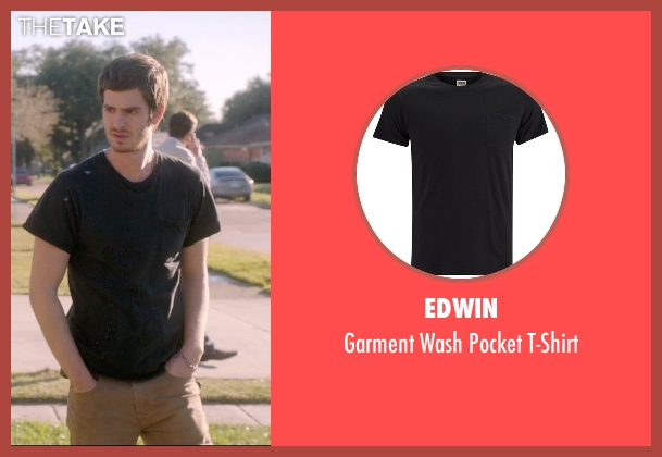 Edwin black t-shirt from 99 Homes seen with Andrew Garfield (Dennis Nash)