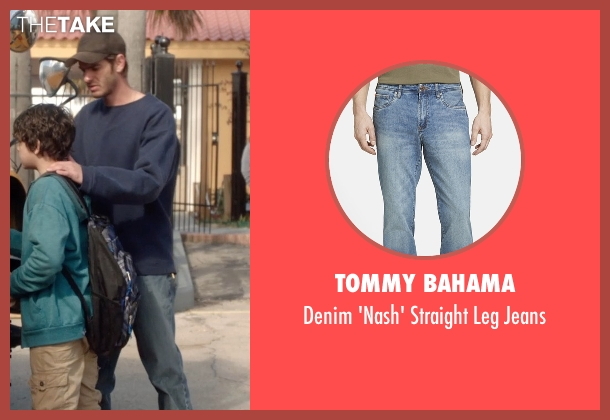 Tommy Bahama blue jeans from 99 Homes seen with Andrew Garfield (Dennis Nash)