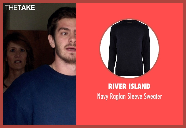 River Island blue sweater from 99 Homes seen with Andrew Garfield (Dennis Nash)