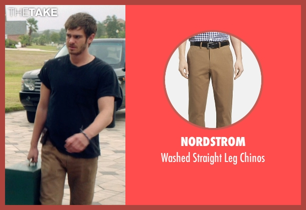 Nordstrom brown chinos from 99 Homes seen with Andrew Garfield (Dennis Nash)