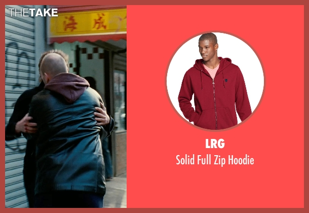 LRG red hoodie from Limitless seen with Andrew Howard (Gennady)