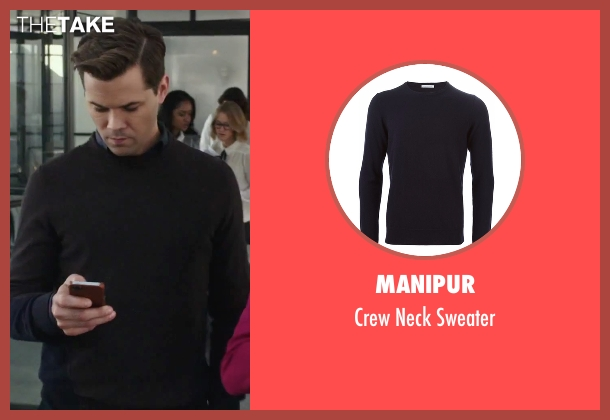 Manipur blue sweater from The Intern seen with Andrew Rannells (Unknown Character)
