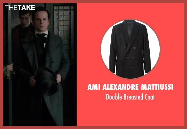 Ami Alexandre Mattiussi black coat from Victor Frankenstein seen with Andrew Scott (Roderick Turpin)