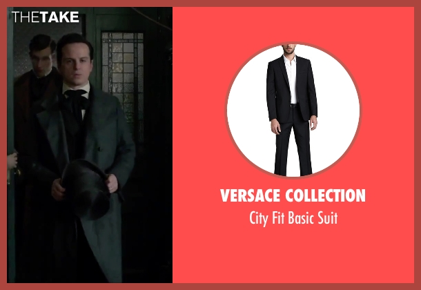 Versace Collection black suit from Victor Frankenstein seen with Andrew Scott (Roderick Turpin)