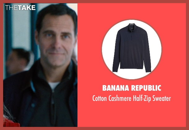 L.L. Bean blue sweater from Jurassic World seen with Andy Buckley (Unknown Character)