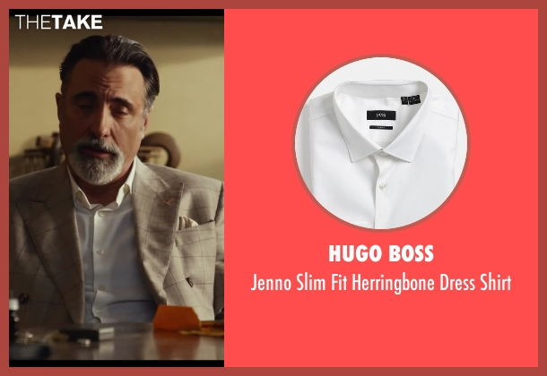 Hugo Boss white shirt from Let's Be Cops seen with Andy Garcia