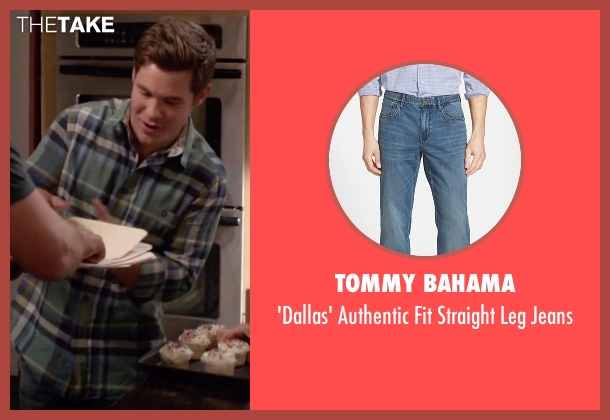 Tommy Bahama blue jeans from Modern Family seen with Andy (Adam DeVine)