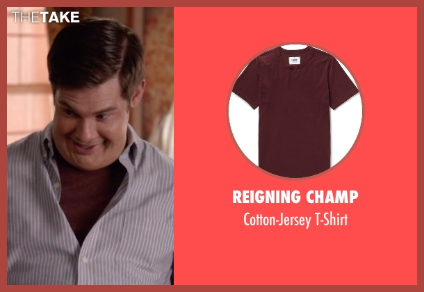 Reigning Champ red t-shirt from Modern Family seen with Andy (Adam DeVine)