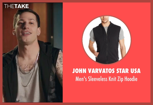 John Varvatos Star USA black hoodie from Popstar: Never Stop Never Stopping seen with Andy Samberg (Conner4Real)
