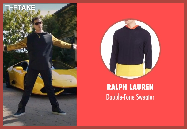 Ralph Lauren black sweater from Popstar: Never Stop Never Stopping seen with Andy Samberg (Conner4Real)