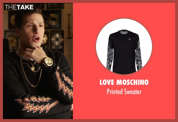 Love Moschino black sweater from Popstar: Never Stop Never Stopping seen with Andy Samberg (Conner4Real)