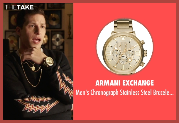 Armani Exchange gold watch from Popstar: Never Stop Never Stopping seen with Andy Samberg (Conner4Real)
