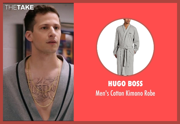 Hugo Boss  gray robe from Popstar: Never Stop Never Stopping seen with Andy Samberg (Conner4Real)