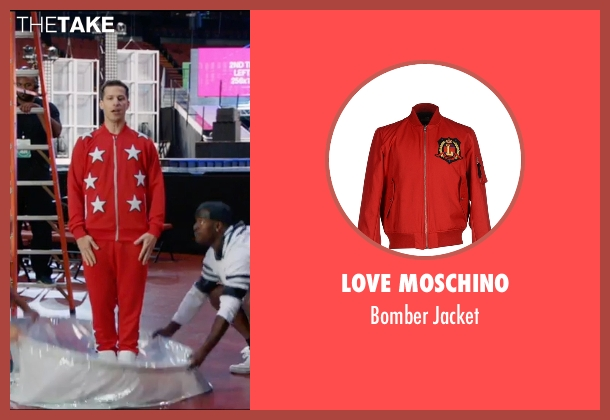 Love Moschino red jacket from Popstar: Never Stop Never Stopping seen with Andy Samberg (Conner4Real)