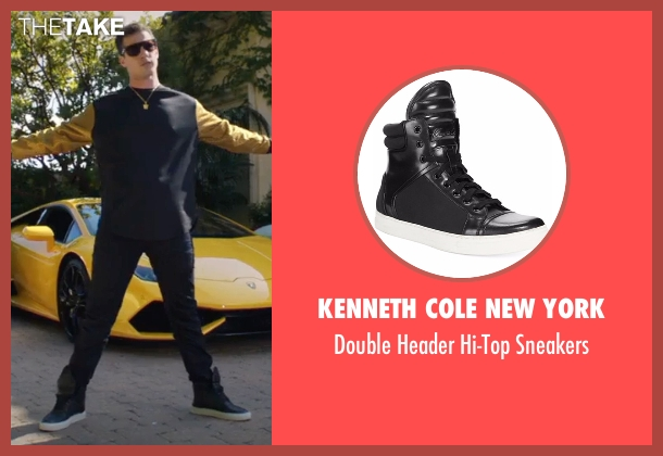 Kenneth Cole New York black sneakers from Popstar: Never Stop Never Stopping seen with Andy Samberg (Conner4Real)