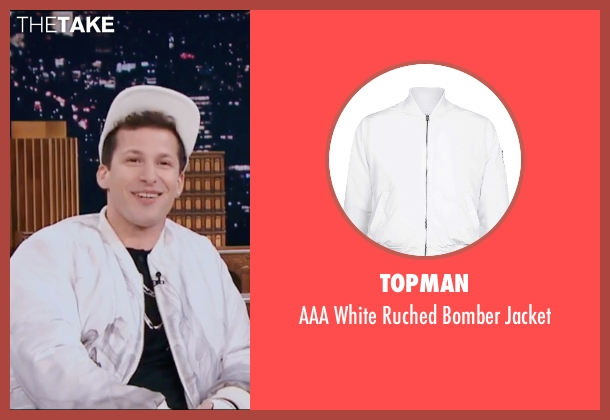 Topman white jacket from Popstar: Never Stop Never Stopping seen with Andy Samberg (Conner4Real)