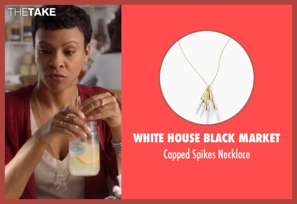 White House Black Market gold necklace from American Housewife seen with Angela (Carly Hughes)