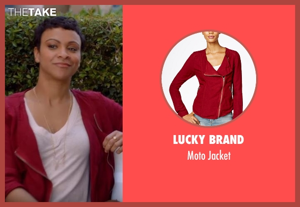 Lucky Brand red jacket from American Housewife seen with Angela (Carly Hughes)