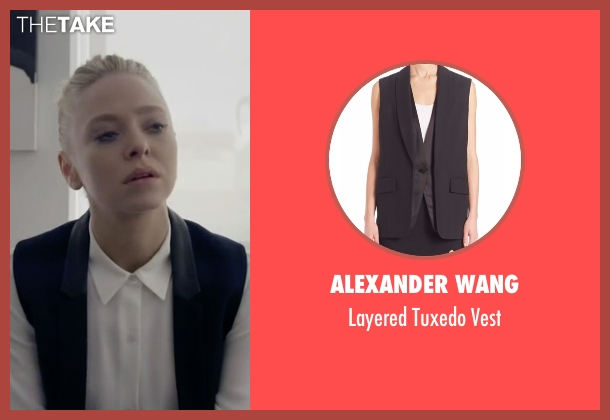 Alexander Wang black vest from Mr. Robot seen with Angela Moss (Portia Doubleday)