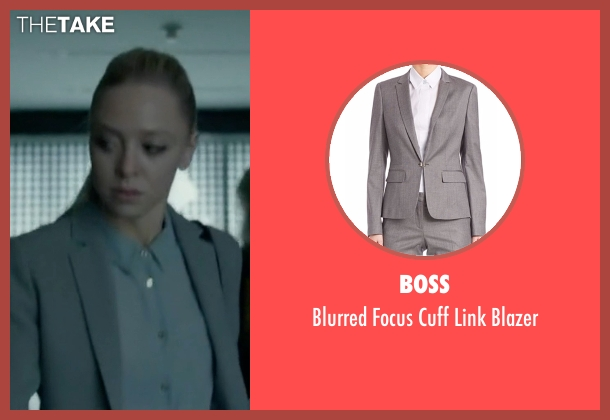 Boss gray blazer from Mr. Robot seen with Angela Moss (Portia Doubleday)