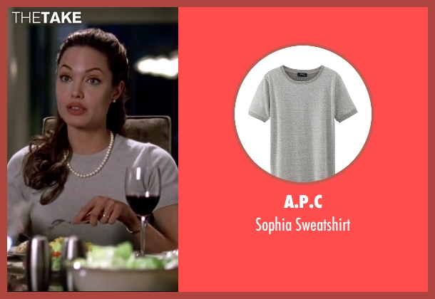 A.P.C gray sweatshirt from Mr. & Mrs. Smith seen with Angelina Jolie (Jane Smith)